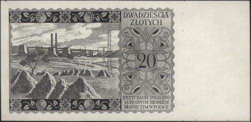 20 złotych 15.08.1939, sklejony czarnodruk /staloryt/ s...