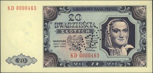 20 złotych 1.07.1948, seria KD 0000465, perforowany nap...
