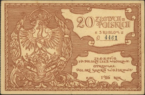 Polski Skarb Wojskowy, 20 złotych polskich = 3 ruble 19...