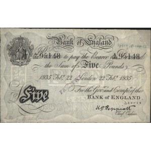 5 funtów 22.02.1935, seria A152 95148, fałszerstwo niem...