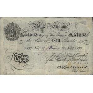 10 funtów 17.11.1933, seria K129 51563, fałszerstwo nie...
