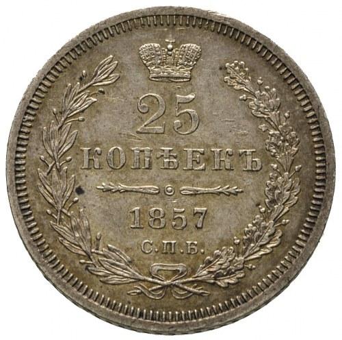 25 kopiejek 1857 ФБ, Petersburg, Bitkin 55, bardzo ładn...