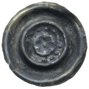 szeroki brakteat (2 poł. XIII w); Rozeta w obwódce z wk...