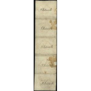 5 x 10 groszy 13.08.1794, pięć banknotów nierozciętych ...