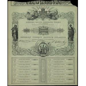 Pożyczka Ogólna Narodowa Polska na 10.000 złotych 1863,...