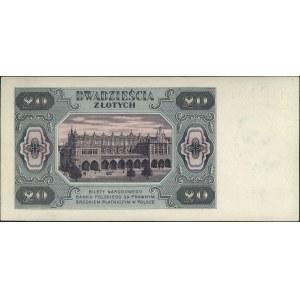 20 złotych 1.07.1948, seria CD 0000000, papier z niebie...