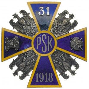 odznaka 31 Pułku Strzelców Kaniowskich, mosiądz srebrzo...