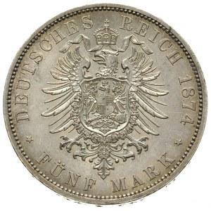 Wilhelm I 1861-1888, 5 marek 1874 / A, Berlin, J.97, pi...