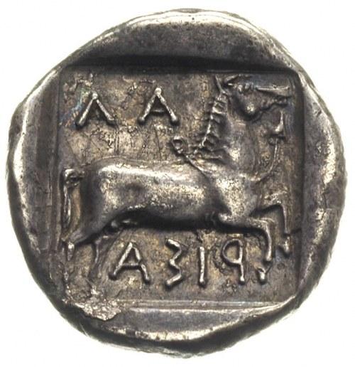 Tessalia, Larisa, drachma 450-400, Aw: Młodzieniec ujaż...
