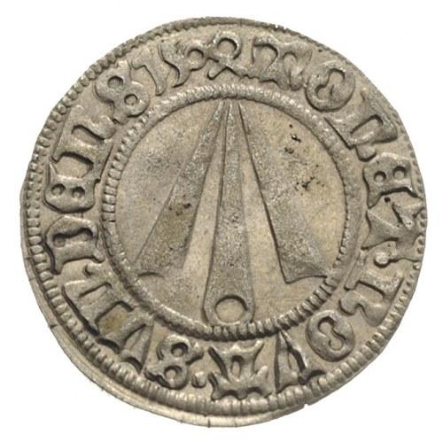 Strzałów /Stralsund/, grosz 1504, Aw: Strzała, Rw: Krzy...