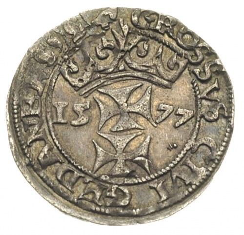 grosz oblężniczy 1577, Gdańsk, odmiana z kawką na rewer...
