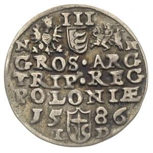 trojak 1586, Olkusz, odmiana z literami N-H przy Orle i...