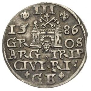 trojak 1586, Ryga, Iger R.86.1.b (R),Gerbaszewski 16