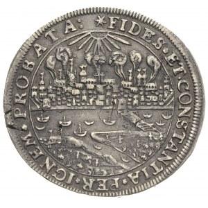 talar oblężniczy 1629, Toruń, Aw: Widok płonącego miast...