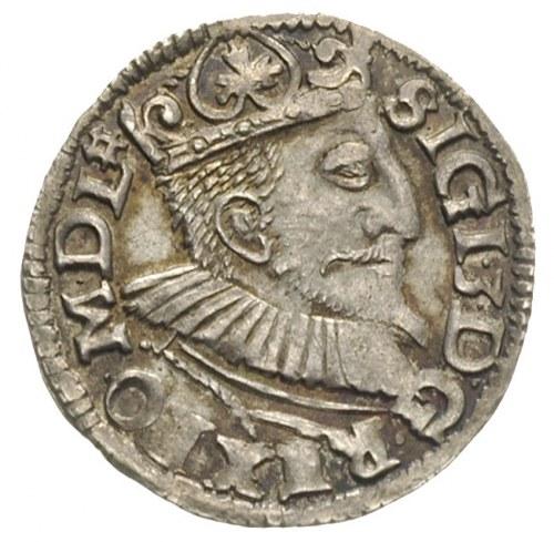 trojak 1595, Wschowa, znak menniczy na awersie, Iger W....