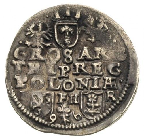 trojak 1596, Poznań, data u dołu rewersu i litery I - F...