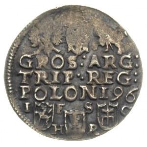 trojak 1596, Bydgoszcz, data na rewersie i litery I - F...