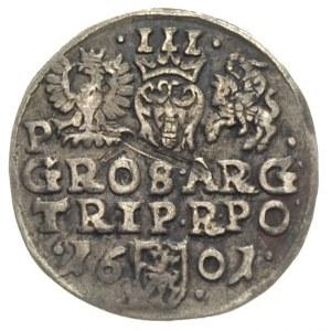 trojak 1601, Poznań, litera P obok Orła, Iger P.01.2.a,...