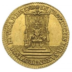 dukat wikariacki 1741, Drezno, Aw: Król na koniu, Rw: T...