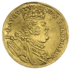 dukat 1754, Lipsk,Aw: Popiersie króla i napis wokoło, R...
