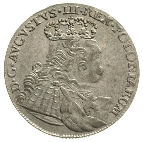 ort 1754, Lipsk, szerokie popiersie i duża głowa króla,...