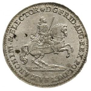 dwugrosz wikariacki 1741, Drezno, Aw: Król na koniu, Rw...