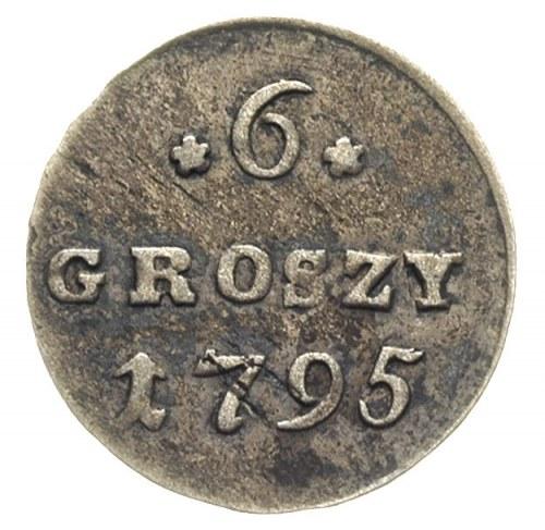 6 groszy 1795, Warszawa, Plage 212, ciemna nierównomier...