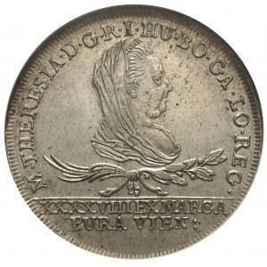 30 krajcarów 1775, Wiedeń, Plage 8, moneta w pudełku GC...