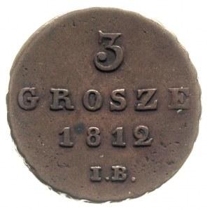 3 grosze 1812, Warszawa, Iger KW.12.1.a, Plage 89, paty...