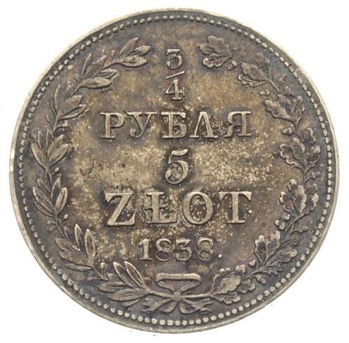 3/4 rubla = 5 złotych 1838, Warszawa, po 5 kępce liści ...
