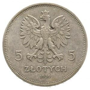 5 złotych 1930, Warszawa, Sztandar, Parchimowicz 115.a,...