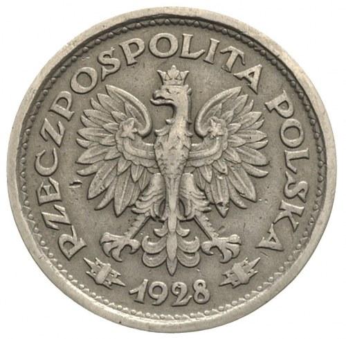 1 złoty 1928, nominał w wieńcu bez napisu PRÓBA, nikiel...