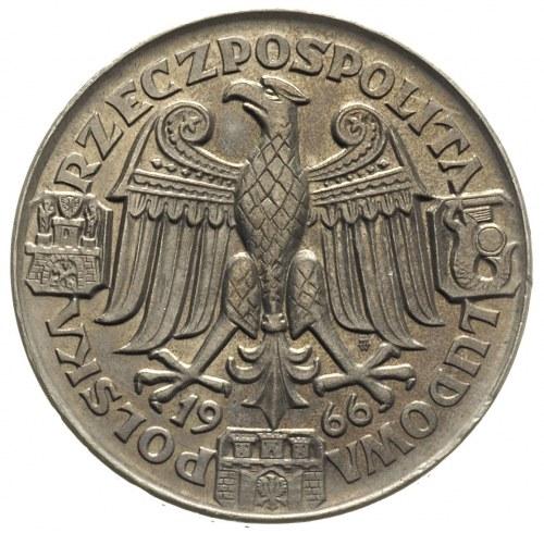 100 złotych 1966, Mieszko i Dąbrówka -popiersia, na rew...