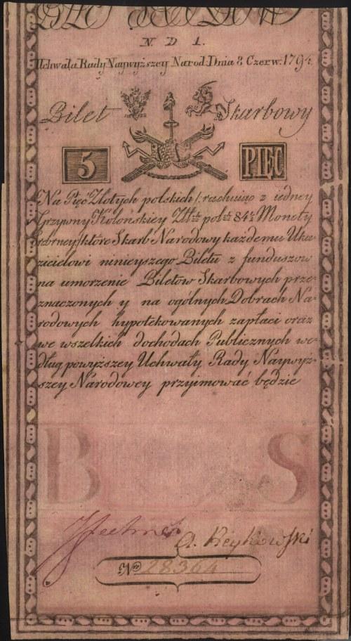 5 złotych polskich 8.06.1794, seria N.D.1, Miłczak A1a2...