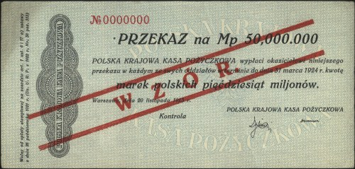 przekaz na 50.000.000 marek polskich 20.11.1923, WZÓR, ...