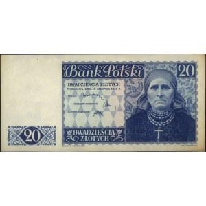 20 złotych 15.08.1939, próba druku w kolorze zielono-ni...