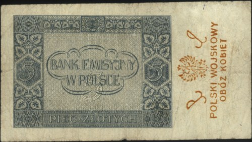 5 złotych 1.08.1941, seria AE, z nadrukiem na stronie o...