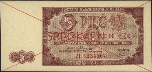 5 złotych 1.07.1948, seria AL 1234567, czerwony nadruk ...