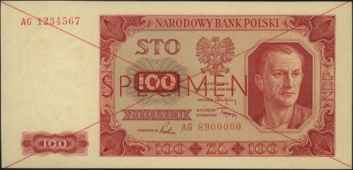 100 złotych 1.07.1948, seria AG 1234567 / AG 8900000, c...