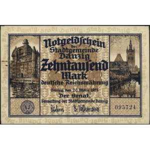 10.000 marek 20.03.1923, Miłczak G5, Ros. 796, Podczask...