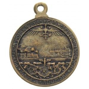 medalik z uszkiem, 1918, Aw: Polonia trzymająca buławę ...