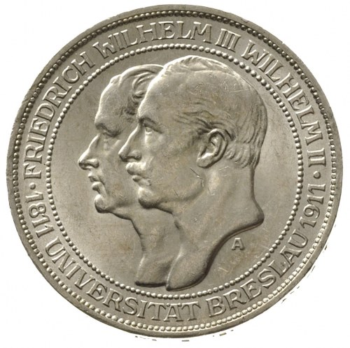 Prusy, Wilhelm II 1888-1918, 3 marki 1911 A, Berlin, 10...