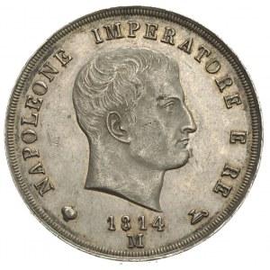 Królestwo Napoleona 1805-1814, 5 lirów 1814 / M, Mediol...