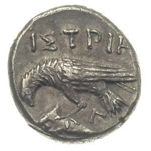 drachma ok. 400-300 pne, Aw: Dwie głowy młodych mężczyz...