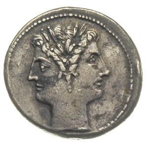 didrachma ok. 225-214 pne, Aw: Podwójna głowa dioskurów...