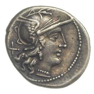 denar 153 pne, Rzym, Aw: Głowa Romy w hełmie w prawo, z...