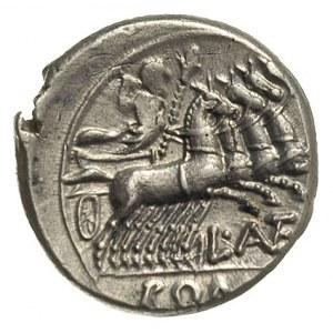 denar 136 pne, Rzym, Aw: Głowa Romy w hełmie w prawo, z...