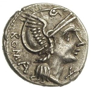 denar ok. 109-108 pne, Rzym, Aw: Głowa Romy w hełmie w ...