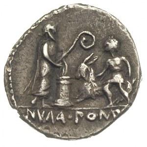 denar 97 pne, Aw: Głowa Apolla w prawo, wokoło L POMPON...