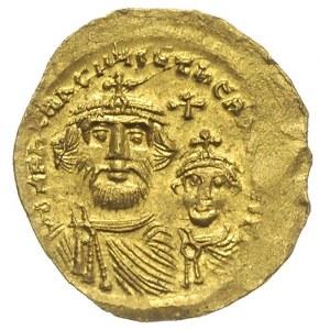 solidus ok. 616-625, Konstantynopol, Aw: Popiersia Hera...